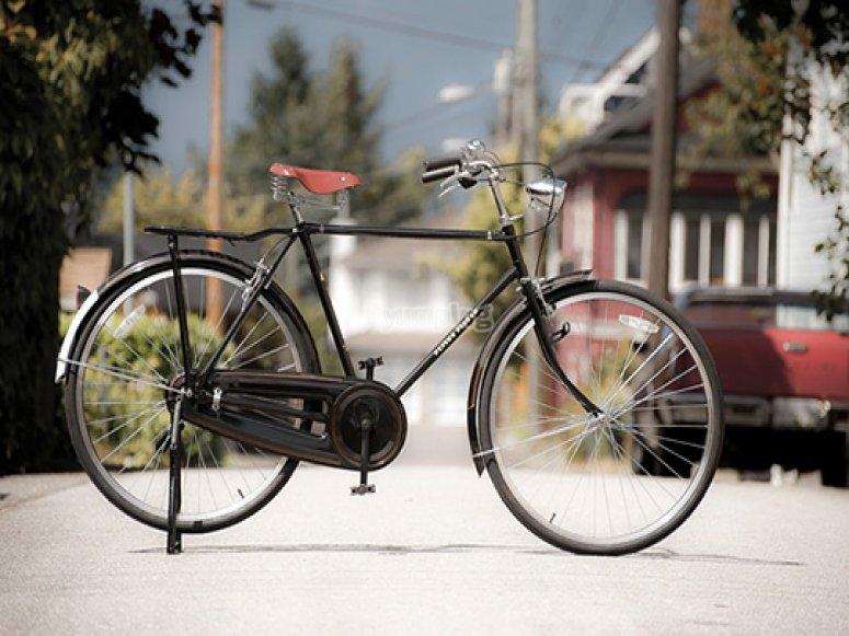 bicicleta con un sillin rojo