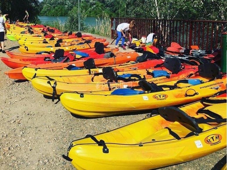 Flota de kayaks en la orilla para la ruta
