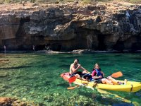 Route by a canoe through the caves of Denia