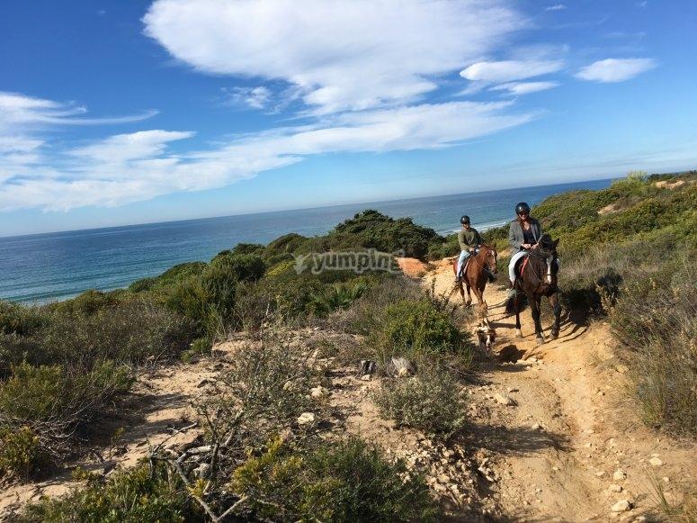 Paseando a caballo en los acantilados de Roche