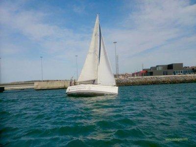 在一条风船的日落在蓬塔Galea