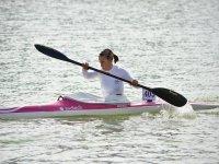 Skilfully paddling aboard the canoe