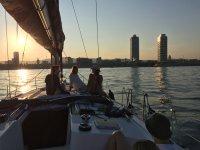 Sunset onboard in Barcelona