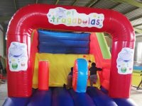 Inflatable castle with a covered part