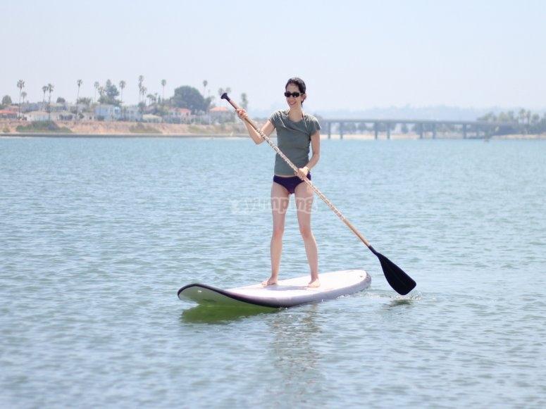Enjoy paddle surfing