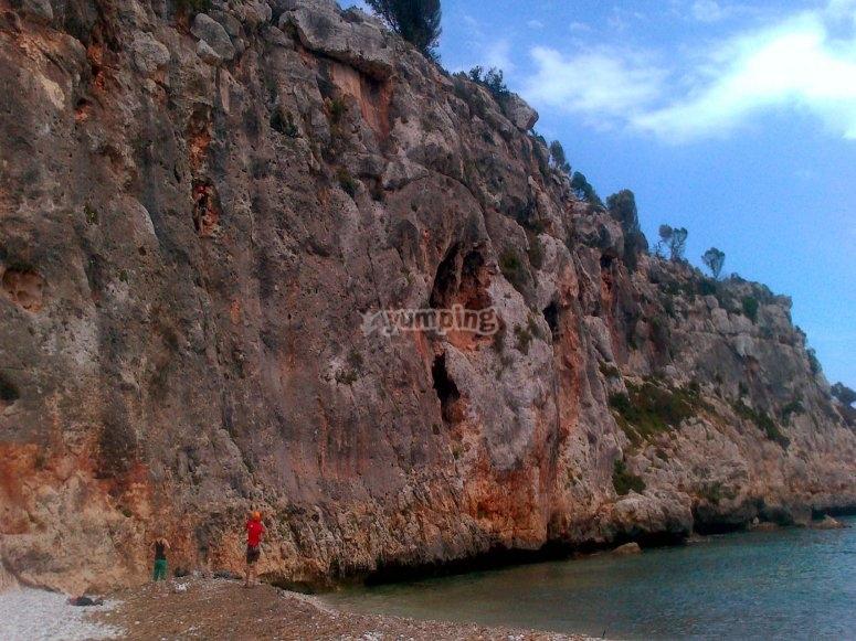 Climbing in the seashore