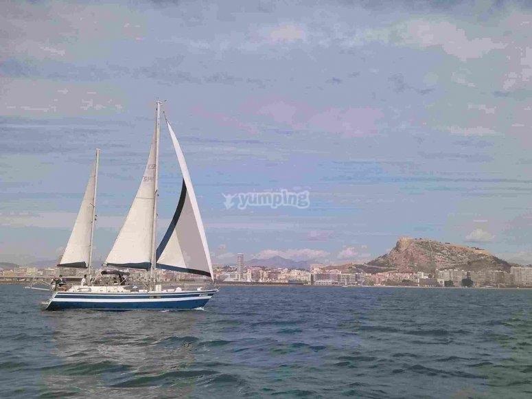 帆船在海上航行