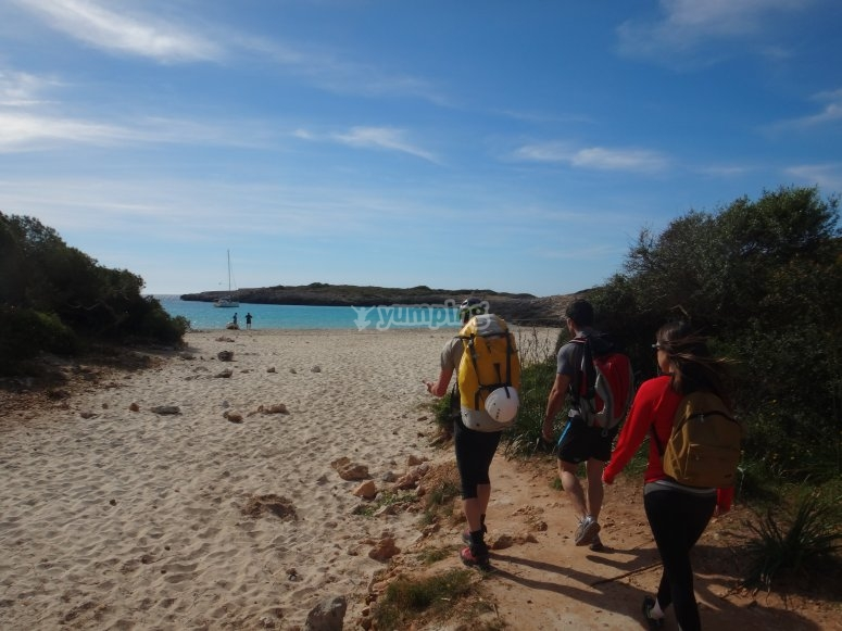 Walking in an unspoilt beach