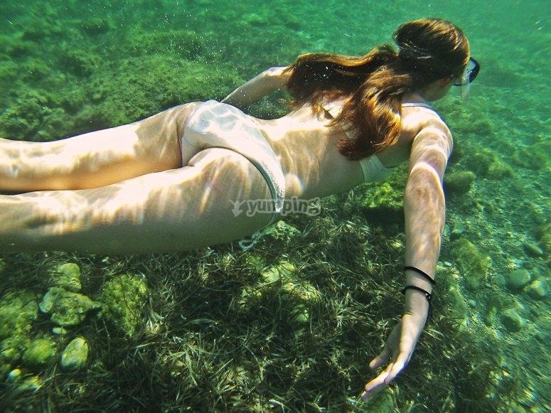 在清澈的海水中浮潜