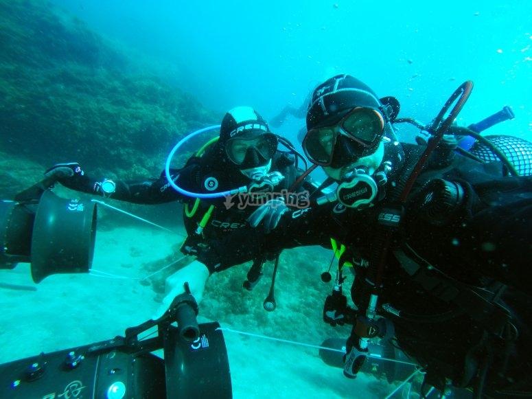Enjoying diving