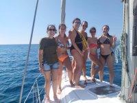 Friends celebrating on board the ship