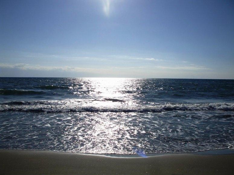 太阳在海中充满