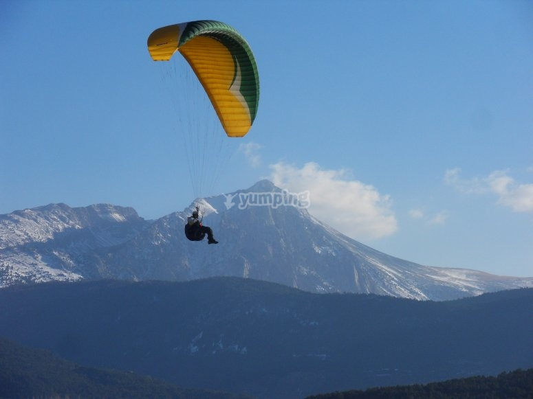 Paragliding in the air