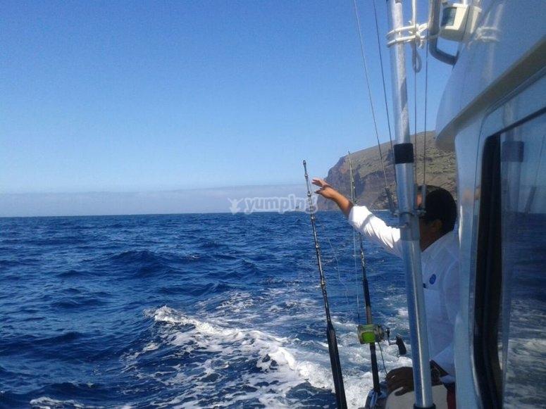 En el barco de pesca