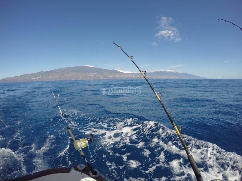 Fishing from a boat in La Palma