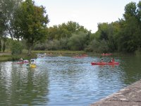 Lowering the river in canoe