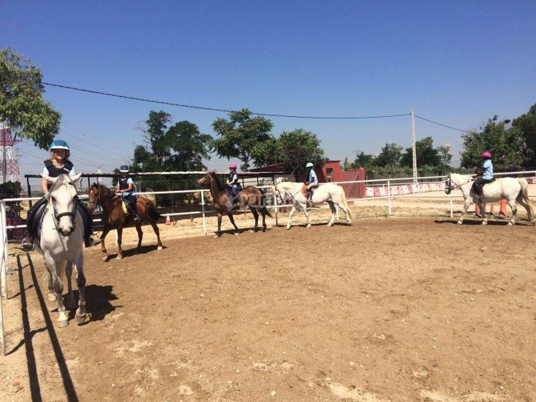 En la pista de equitación