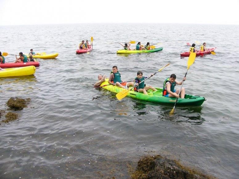Canoe trip in the sea