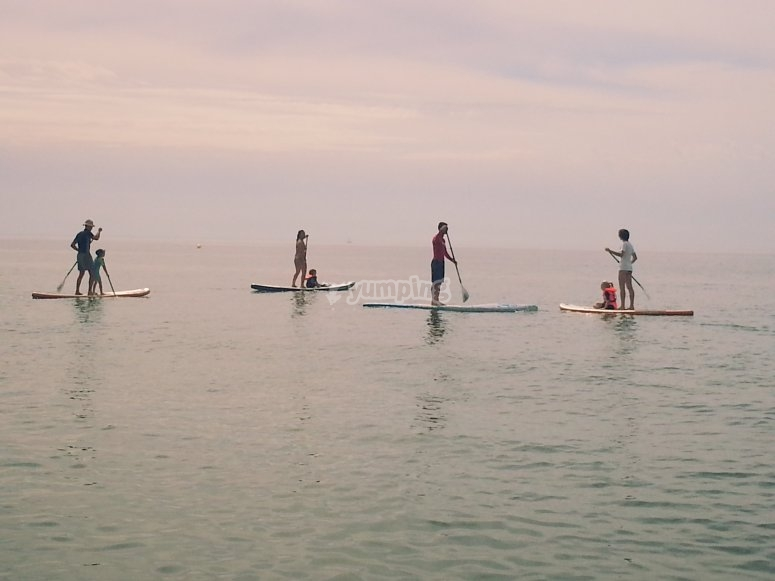grupo en las paddle surf