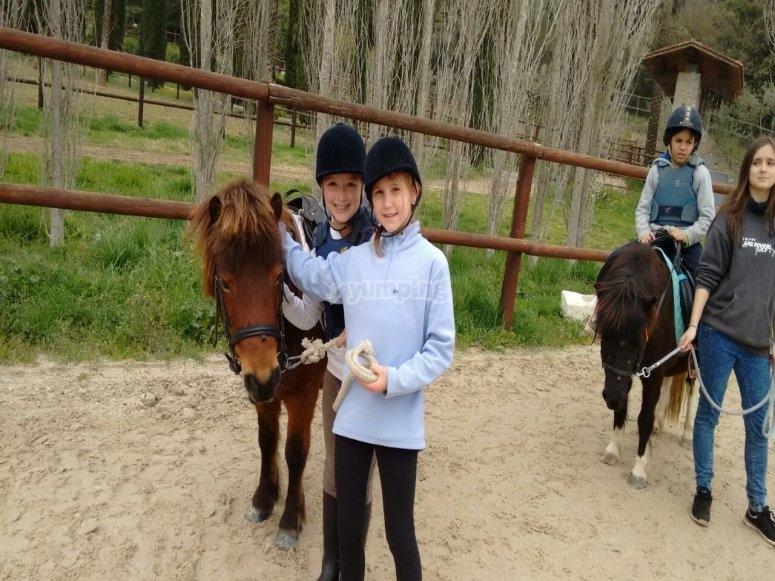Girls on pony