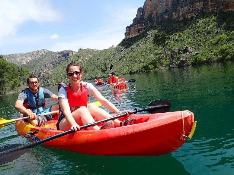 Couple with kayaks