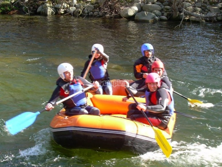paddling from the raft to the Tormes