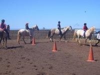 Some participants riding a horse