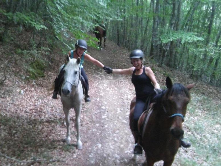 Saludandose desde los caballos