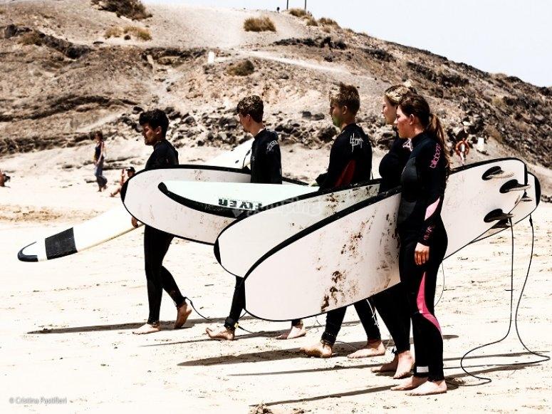 Con las tablas de surf
