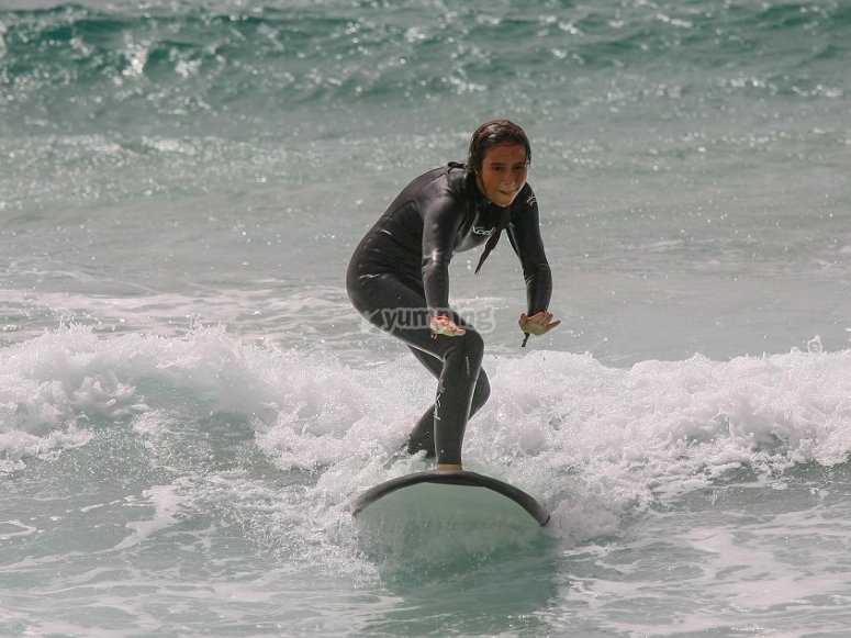 Sobre la tabla de surf