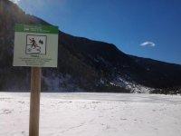 Aiguestortes的冰冻湖泊