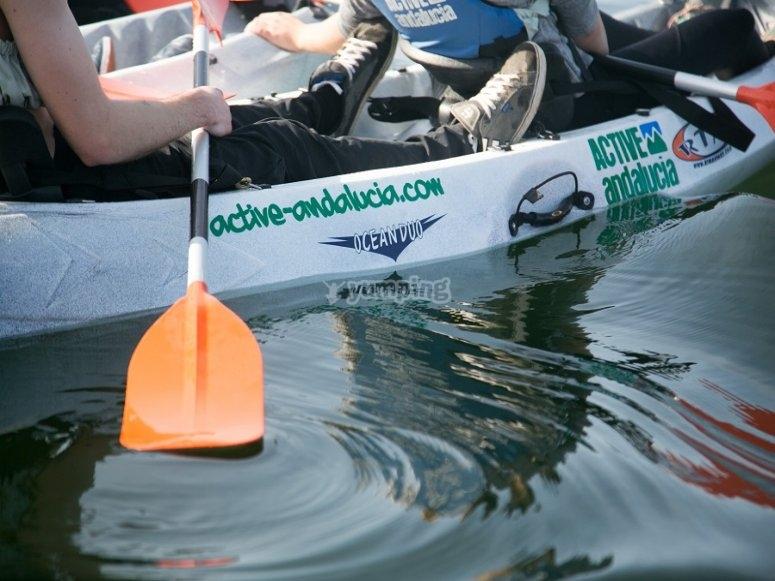 Rowing in the kayak