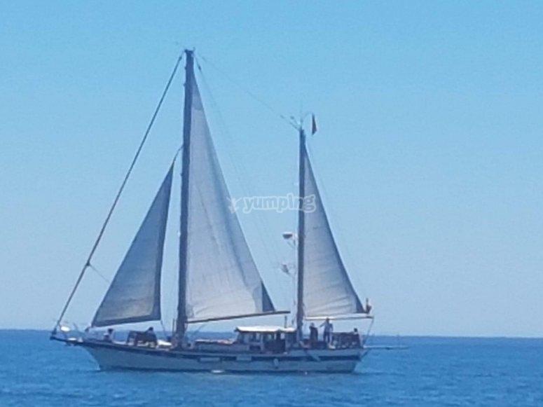 帆船穿越地中海