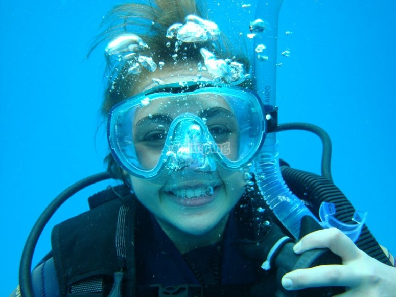 Girl diving happily