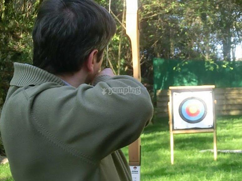 Practising archery
