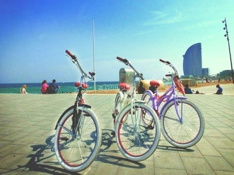 巴塞罗那港口的几辆自行车