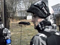 Match of paintball among friends