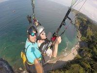 Enjoying a paragliding flight