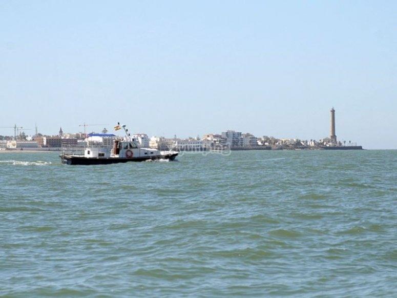 Navegando en el barco