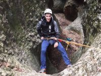 Rappelling in the dry ravine