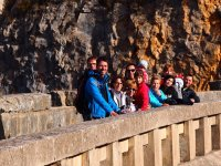 Hikers looking out over the bridge in Huesca