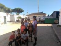 Niños acariciando al caballo
