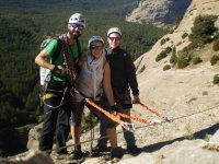 Attached to the lifeline of the ferrata