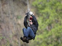 In the zip line with gloves