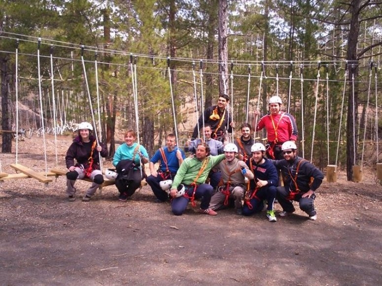 Group in the adventure park