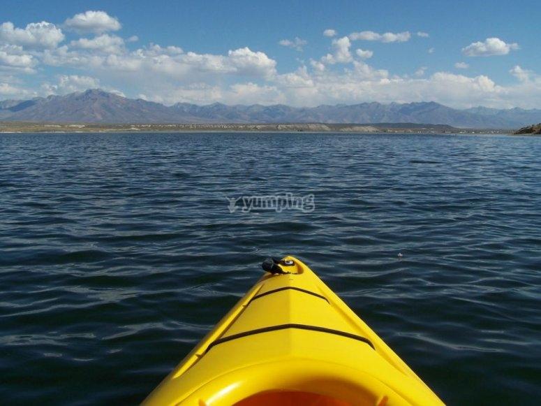 Vista frontal del kayak