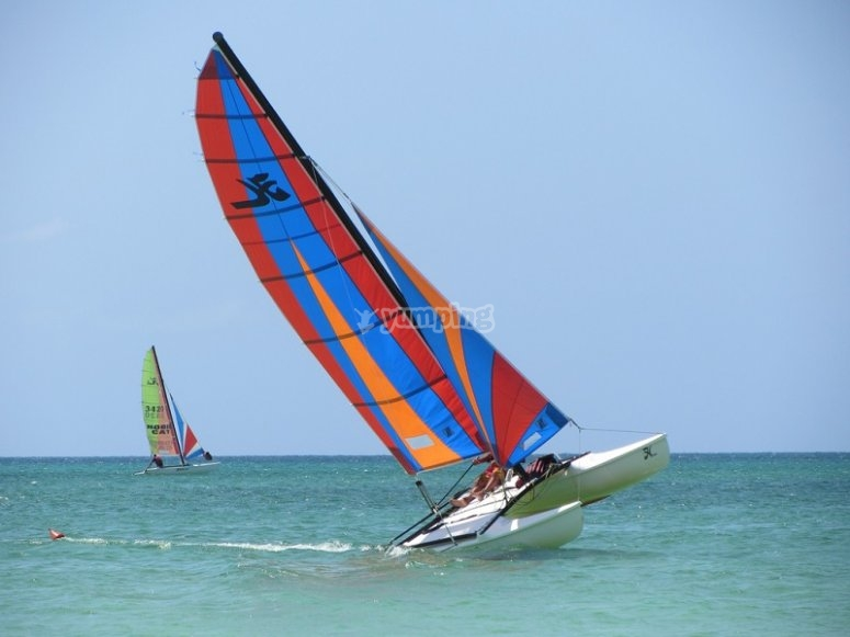 Sube a bordo del hobie cat