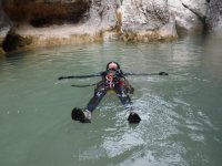 Floating in the water of the Huesca river