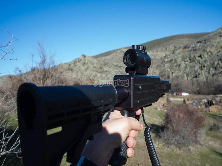 Aiming the laser gun