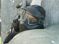 Lying paintball player